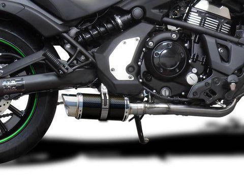 "DELKEVIC Kawasaki Vulcan S EN650 (15/20) Full Exhaust System with Mini 8"" Carbon Silencer"
