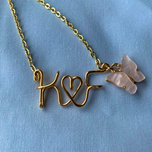 Couples/BFFs Initials Necklace - Gold