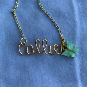 Custom Butterfly Name Necklace - Gold