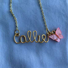 Load image into Gallery viewer, Custom Butterfly Name Necklace - Gold