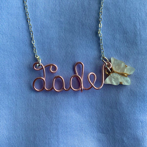 Custom Butterfly Name Necklace - Rose Gold