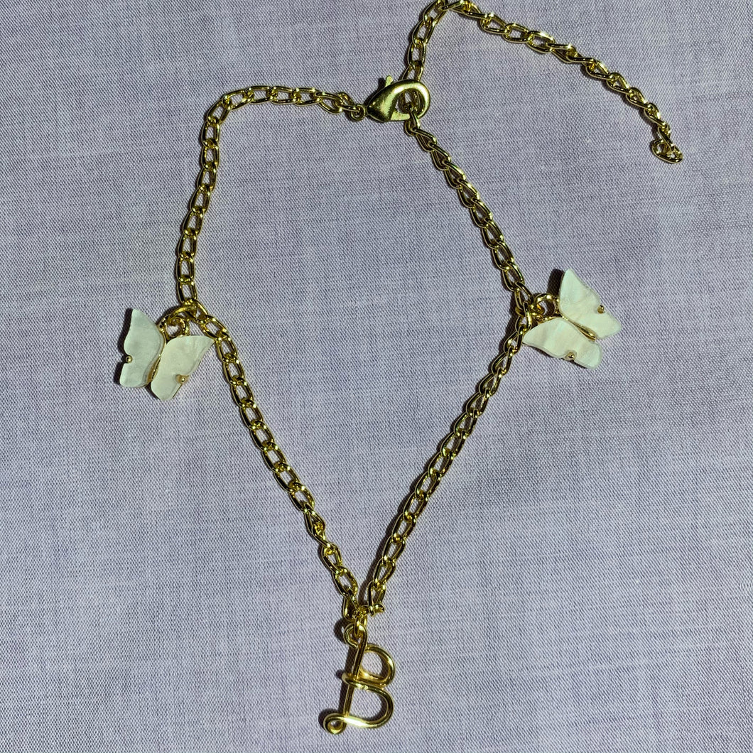 Custom Initial Butterfly Anklet - Gold