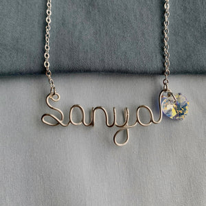 Custom Swarovski Name Necklace - Silver