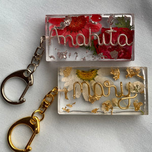 Custom Floral Name Keychain