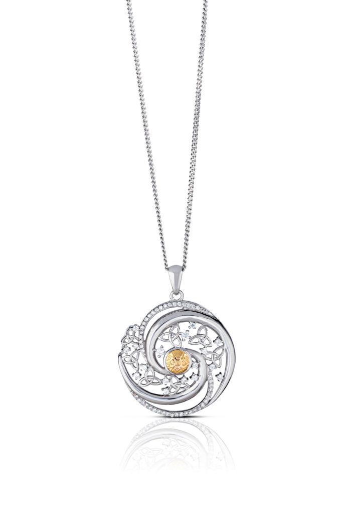 Winter Solstice Pendant with Swirls and 18k Gold Bead