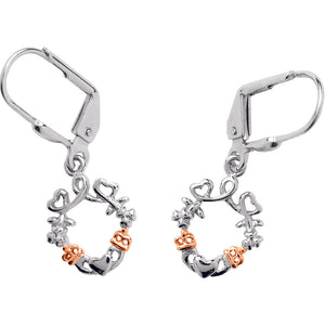 Claddagh Silver and Rose Gold Earrings