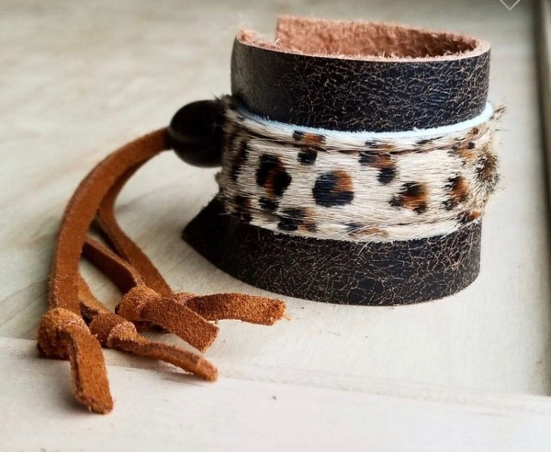 Leather cuff with leopard hair on hide and leather adjustable tie