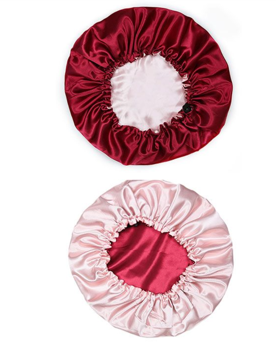 Double Layered Satin Bonnet with Adjustable Drawstring