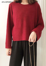 Eun Ae Korean Knitted Blouse Dark Red