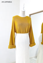 Eun Ae Korean Knitted Blouse Mustard