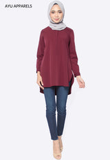 Celia Hidden Zip Blouse Dark Red