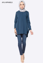 Celia Hidden Zip Blouse Persian Blue