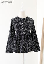 Doll Blouse Floral Outline Black