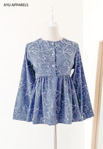 Doll Blouse Floral Outline Dull Blue