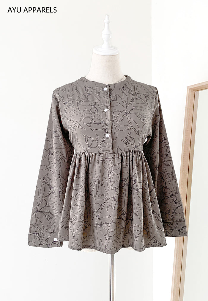 Doll Blouse Floral Outline Shadow