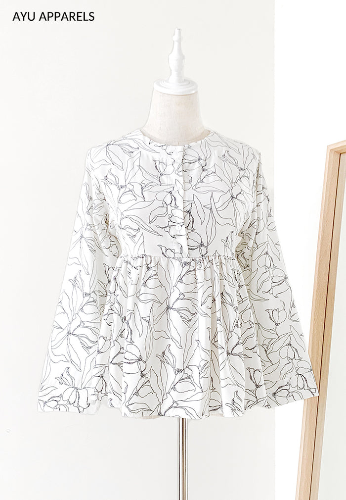 Doll Blouse Floral Outline White