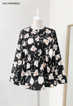 Doll Blouse Hibiscus Black