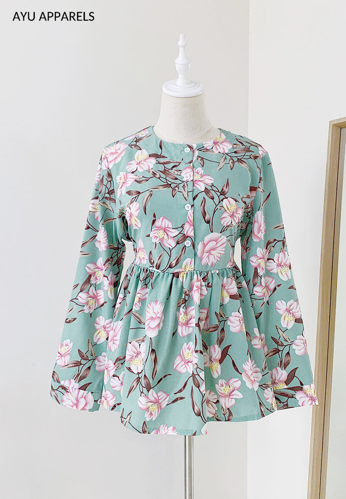 Doll Blouse Hibiscus Mint
