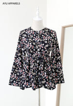 Doll Blouse Little Floral Black