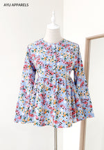 Doll Blouse Little Floral Sky Blue