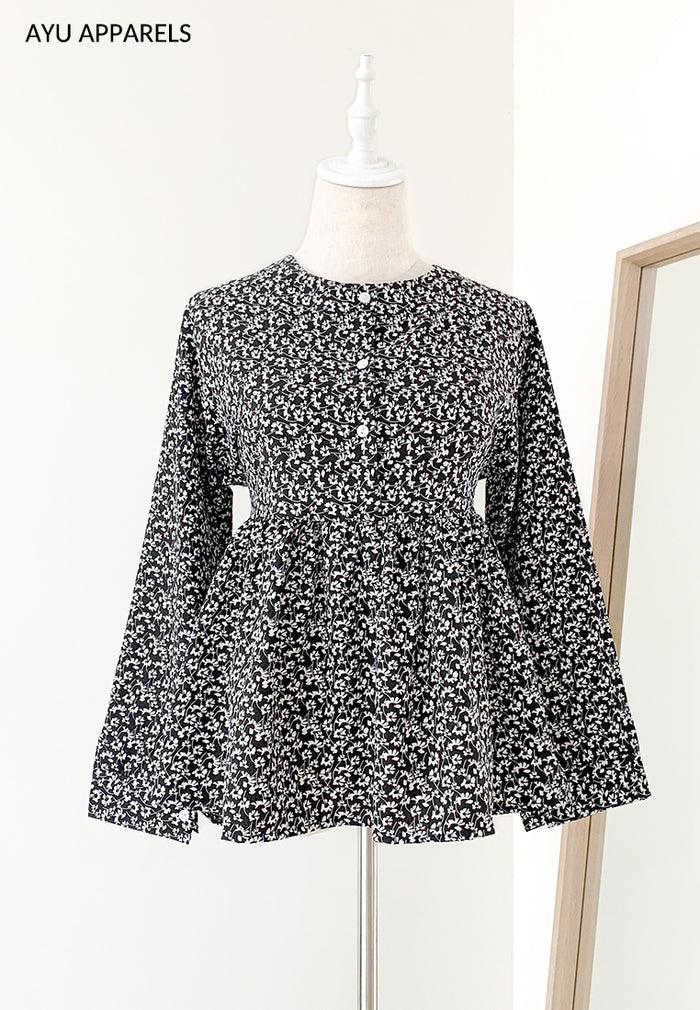 Doll Blouse Mono Floral Black