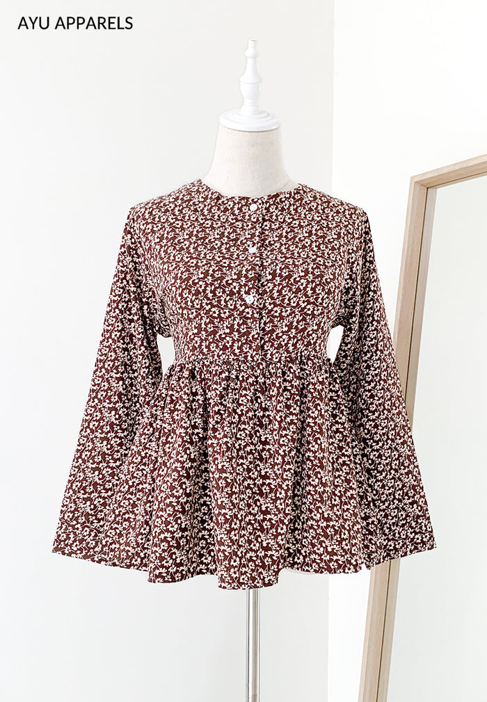 Doll Blouse Mono Floral Chesnut