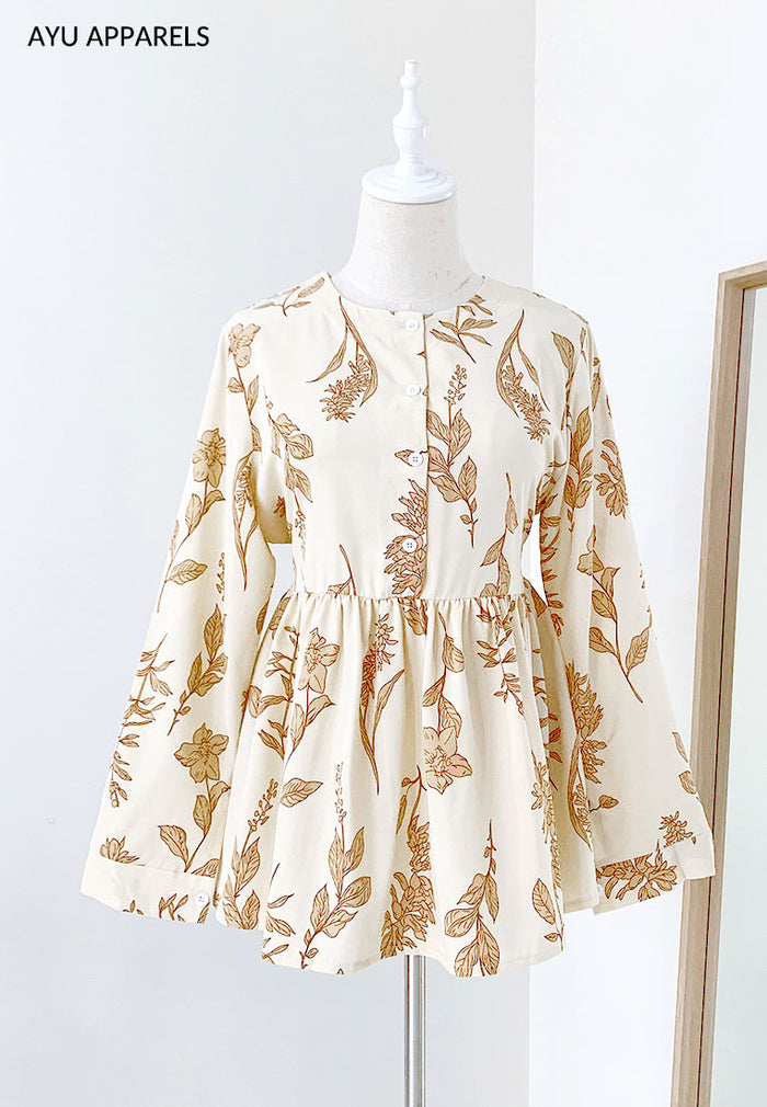 Doll Blouse Mono Floral Cream