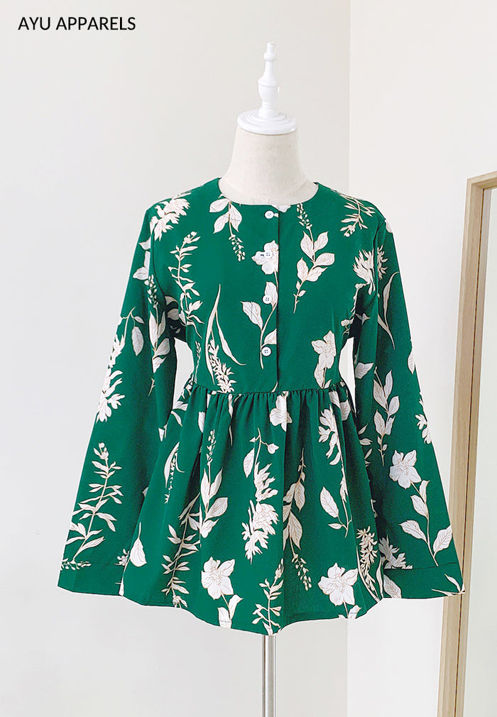 Doll Blouse Mono Floral Emerald