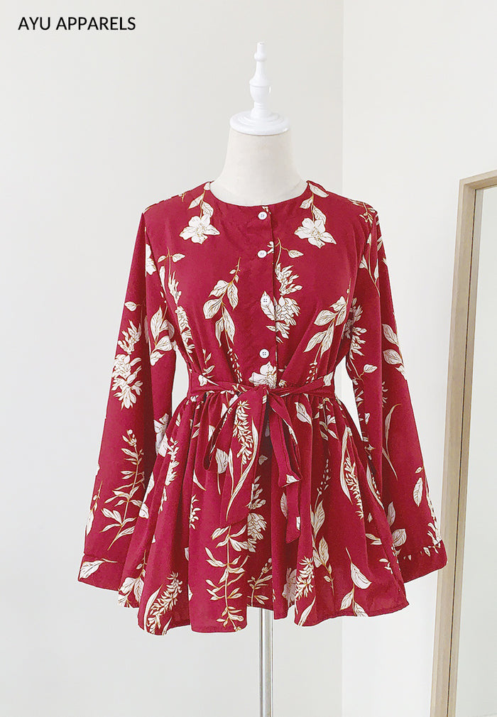 Doll Blouse Mono Floral Red