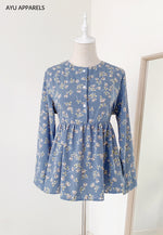 Doll Blouse Rose Dusty Blue