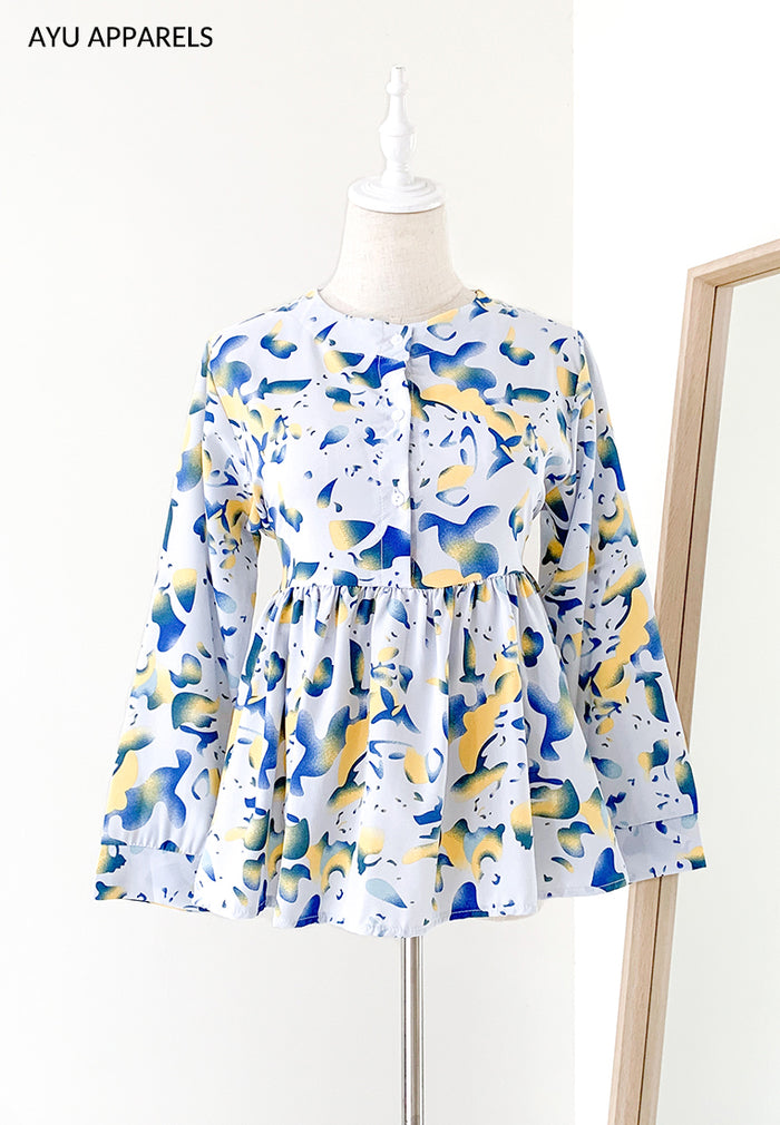 Doll Blouse Watercolour Blue