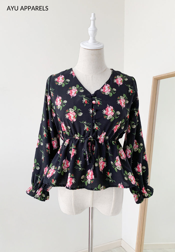 Rose Gathered Blouse Black