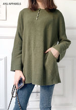 Long Korean Knitted Blouse Army Green
