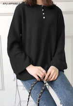 Long Korean Knitted Blouse Black