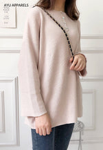 Long Korean Knitted Blouse Baby Pink