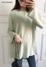 Long Korean Knitted Blouse Mint