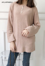 Long Korean Knitted Blouse Nude