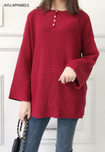 Long Korean Knitted Blouse Red
