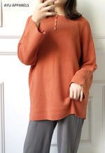 Long Korean Knitted Blouse Tangerine