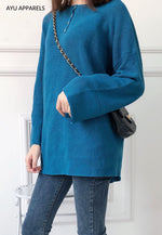 Long Korean Knitted Blouse Teal Blue