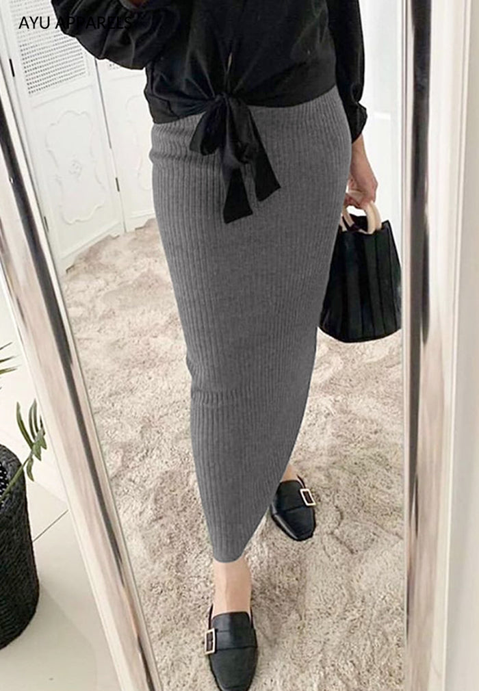 Straight Cut Skirt Dark Grey