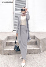 Straight Cut Skirt Light Grey