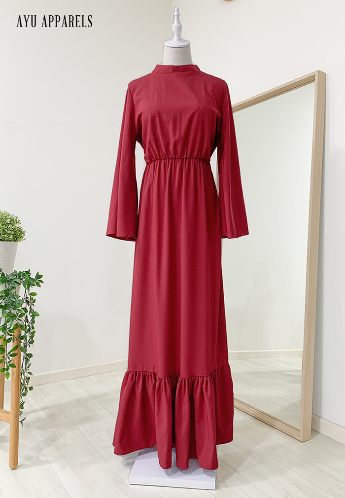 Fifi Gathered Dress Dark Red