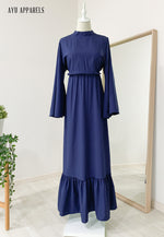 Fifi Gathered Dress Navy Blue