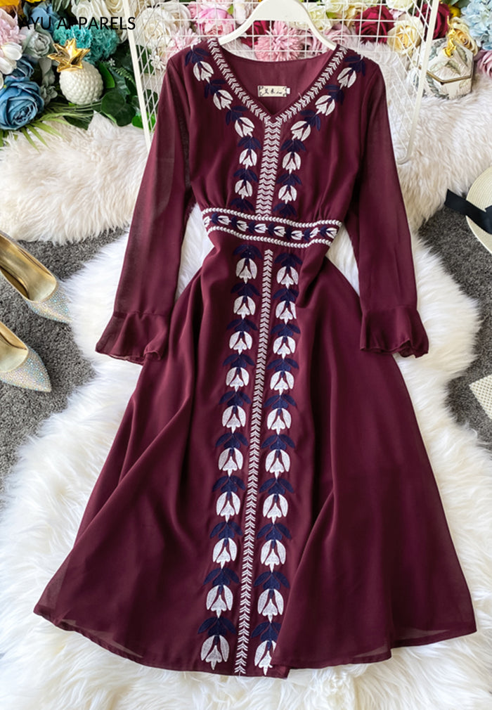 Laurel Embroidered Dress Maroon