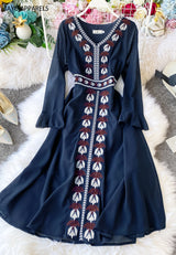 Laurel Embroidered Dress Persian Blue