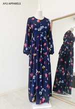 Printed Dress Florian Navy Blue