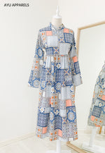 Patchwork Midi Dress Blue