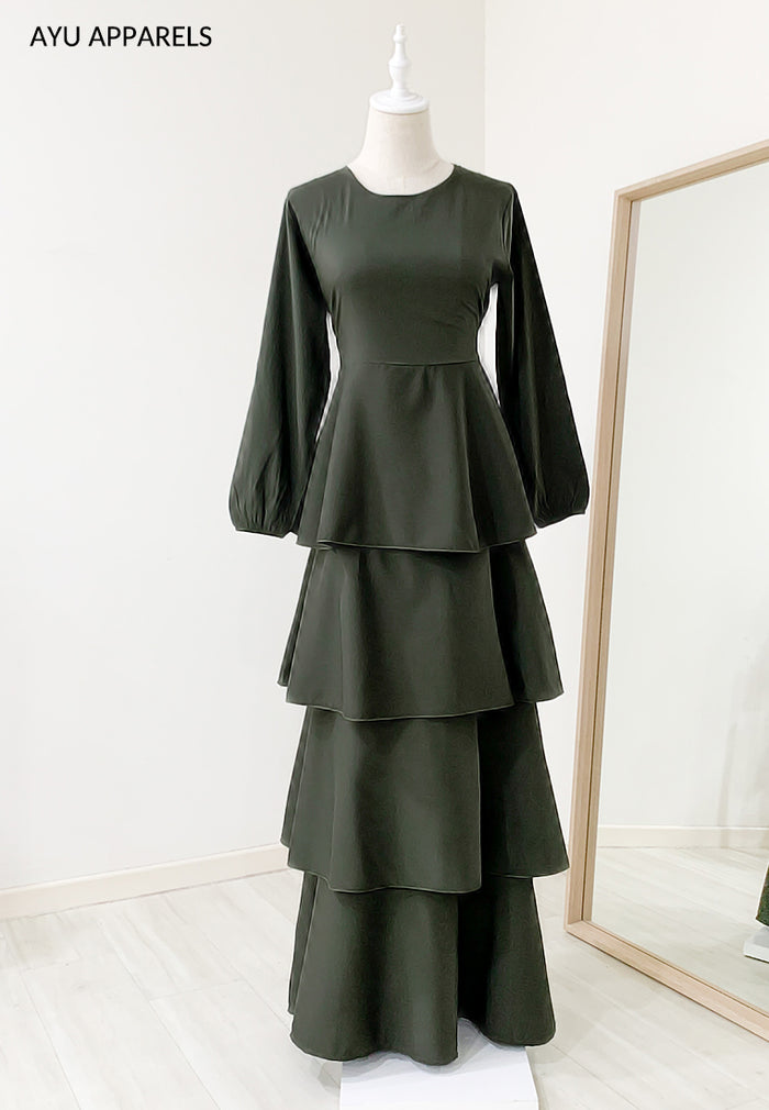Julia Tiered Dress Dark Army Green