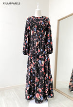 Cherry Blossom Smock Dress Black